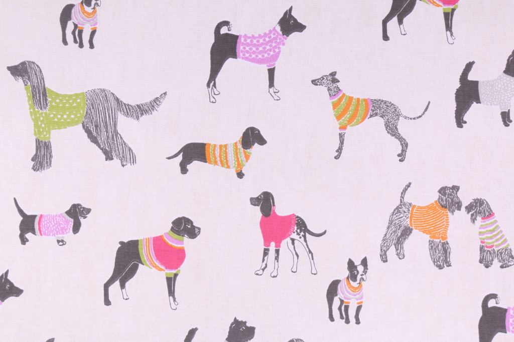 Kaufmann Pups On Parade Printed Cotton Drapery Fabric In Natural
