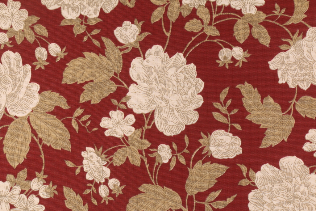 Madison Avenue Designs Floral Printed Cotton Drapery Fabric in Lacquer