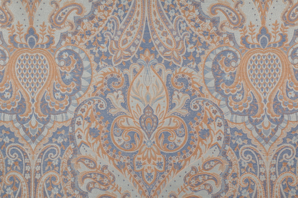 Blue Woven Tapestry Upholstery Fabric